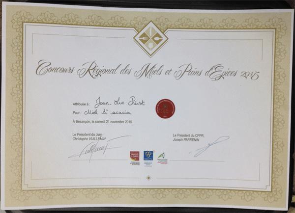 Médaille d'or régionale 2015